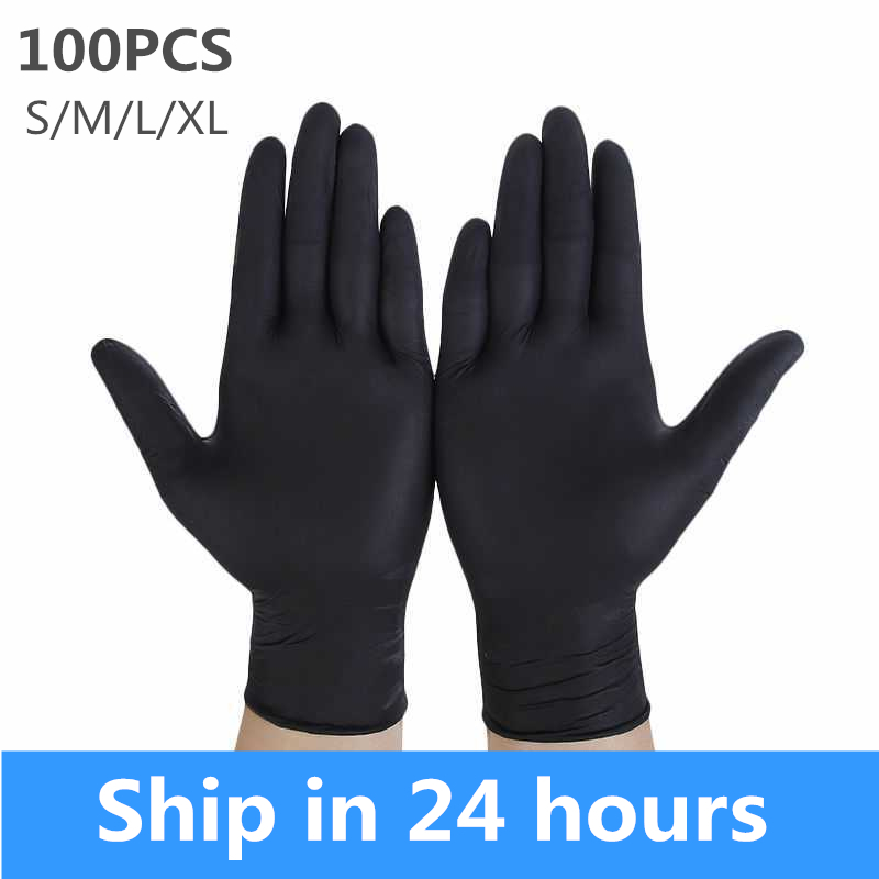 100pcs Disposable Nitrile Gloves Black Latex Rubber Gloves Household Cleaning Experiment Catering Gloves Universal Hand Gloves