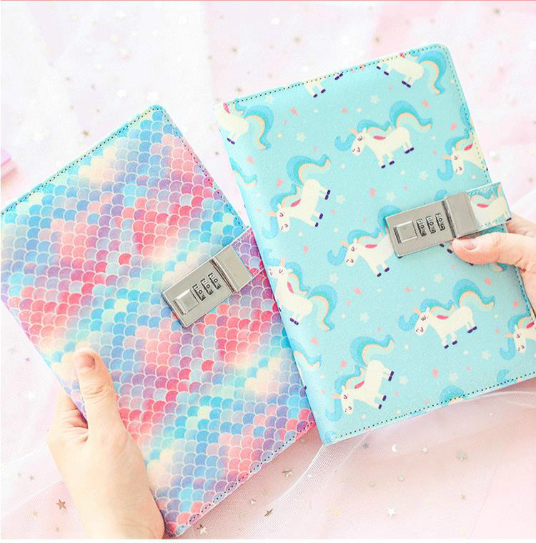 Cute Unicorn Notebook With Lock Creative Diary With Lock For Girls 2020 Personal Diary Journal Refillable Planner Cover Notepad