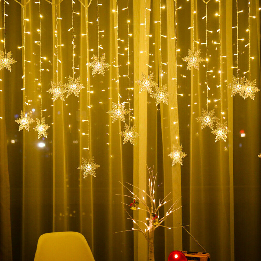 Festoon LED Curtain Snowflakes String Lights Christmas New year Decoration Waterproof Holiday Party Connectable Wave Fairy Light
