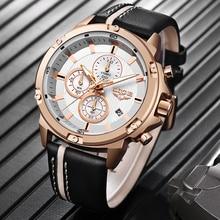 2020 LIGE New Mens Watches Top Brand Luxury Big Dial Military Quartz Watch Leather Waterproof Sport Wrist watch Men Reloj Hombre