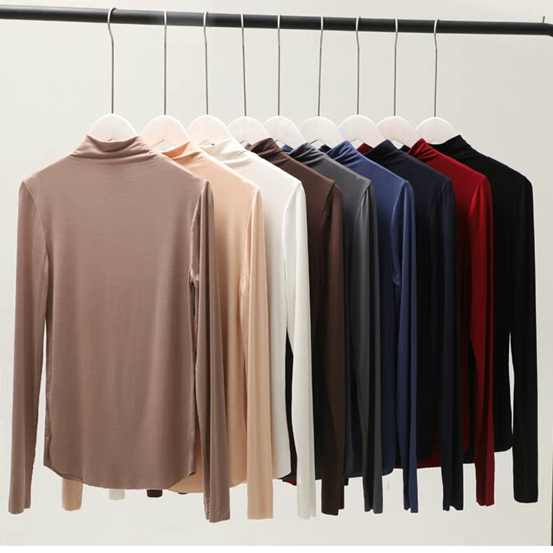 Turtleneck Long Sleeve Women T Shirt 100 Cotton T shirt Slim Tee Shirts Harajuku Women Tops Camiseta Mujer 2019Tee Shirt Femme in T Shirts from Women 39 s Clothing