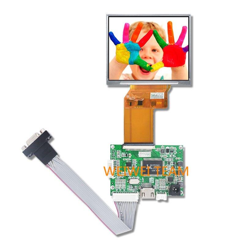 wisecoco JT035IPS02-V0  LCD Mudule Screen 3.5 inch 640x480 TFT Panel IPS Display with HDMI VGA RGB AV Control Board