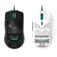 Aj390 leve com fio mouse oco-para fora gaming mouce ratos 6 dpi ajustável 7key