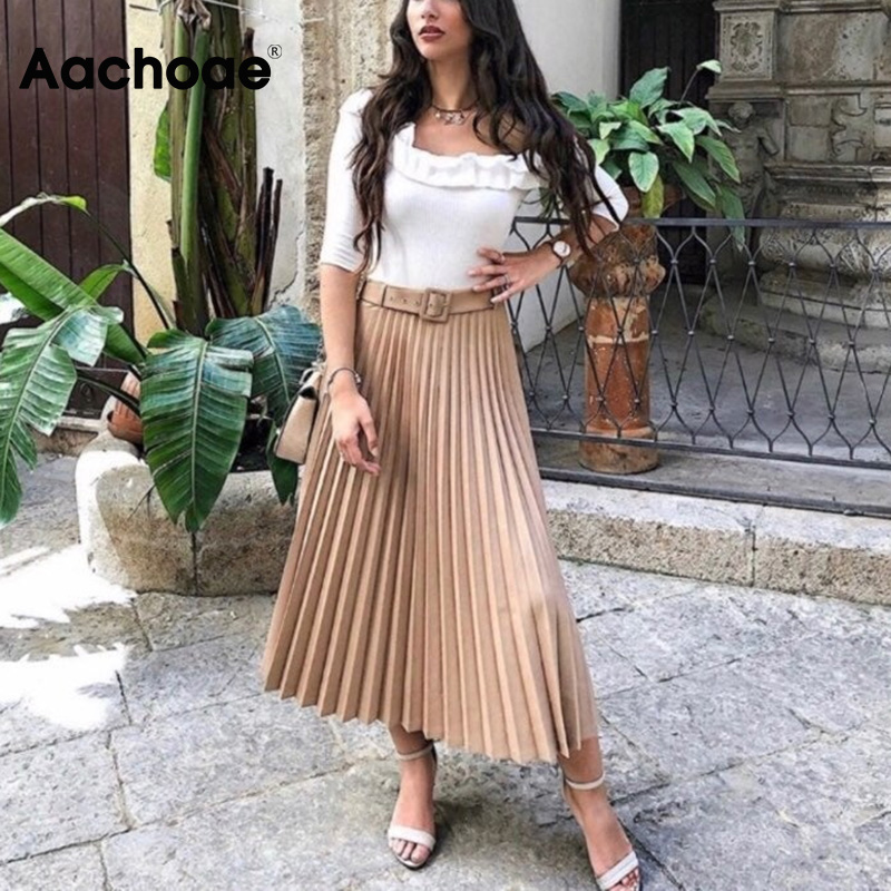 Women Pleated Skirt With Belt High Waist Elegant Vintage A-line Midi Skirts Female 2020