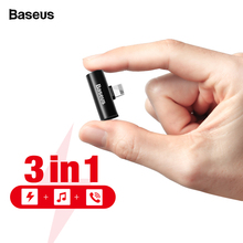 Baseus 2 in 1 Audio Adapter For iPhone Xs Max X 8 7 Plus Aux Earphone Charging Connector OTG Cable Lightning