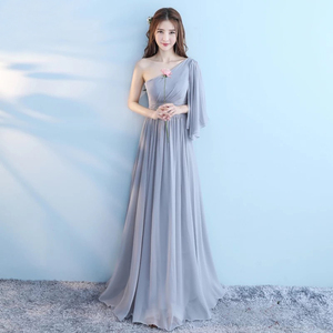 Image 2 - New 6 Style Pink Blush Dress For Women Sexy Chiffon Bridesmaid Dresses Backless Wedding Party Dress Long Gala Gowns Elegant Gray
