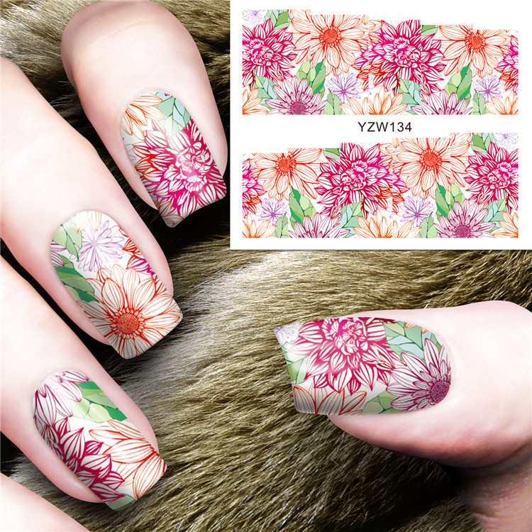 Watermark Nail Decals Japanese-style Hand-Painted Rose Flower Nail Sticker Accessories Nail Polish Glue DIY Adhesive Paper