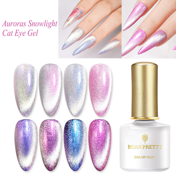 BORN PRETTY Magnetic Gel Nail Polish 6ml Cat Eye Gel Auroras Snowlight Shining Soak Off UV Gel Base Top Coat Nail Art Varnish недорого