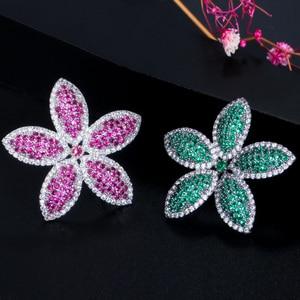 Image 5 - CWWZircons Chic Micro Pave Cubic Zirconia Dark Blue Big Flower Leaf Earrings Luxury Fashion Women Party Wedding Jewelry CZ662