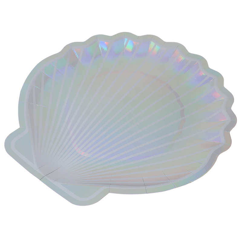 """8 adet Sparkle Shell kağıt tabaklar parti yemeği sofra 10 """"deniz kızı peri masalı festivali bebek duş düğün parti malzemeleri"""
