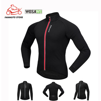 WOSAWE Long Sleeve Winter Thermal Fleece Cycling Jacket Men Bicycle Soft Shell Sports Coat Mtb Bike Motorcycle Windproof Jacket jakroo elt2 female thermal cycling jacket full sleeve high neck fleece cycling jersey windcoat warm up bike cycling equipment