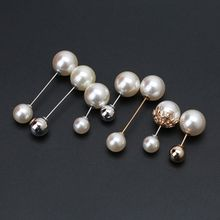 7Pcs Sweater Shawl Clip Double Faux Pearl Brooch Safety Pins Women Clothes Decor