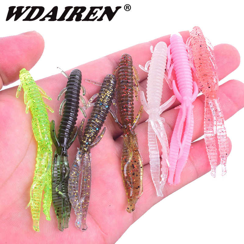 5pcs/lot 7.2cm 1.8g Shrimp Smell Jig Soft Fishing Lure Attractive Fish Crab Fishing Bass Soft Bait Iscas Pesca Para WD-394