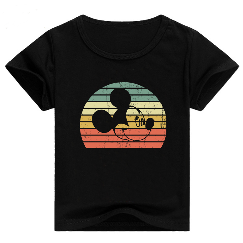 Boys T-shirt Baby Clothing Mickey Print Summer Casual Round Neck Short-sleeved T-shirt Toddler Baby Clothes Girl Top Boy T-shirt