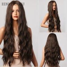 HENRY MARGU brun foncé ondulé perruques longues synthétiques bouclés perruques de cheveux naturels pour les femmes quotidien fête cheveux perruques haute température