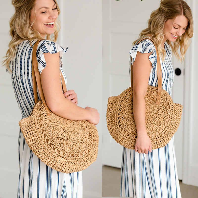 Handmade Women Handbag Summer Beach Bag Rattan Woven Knitted Straw Shoulder Bag