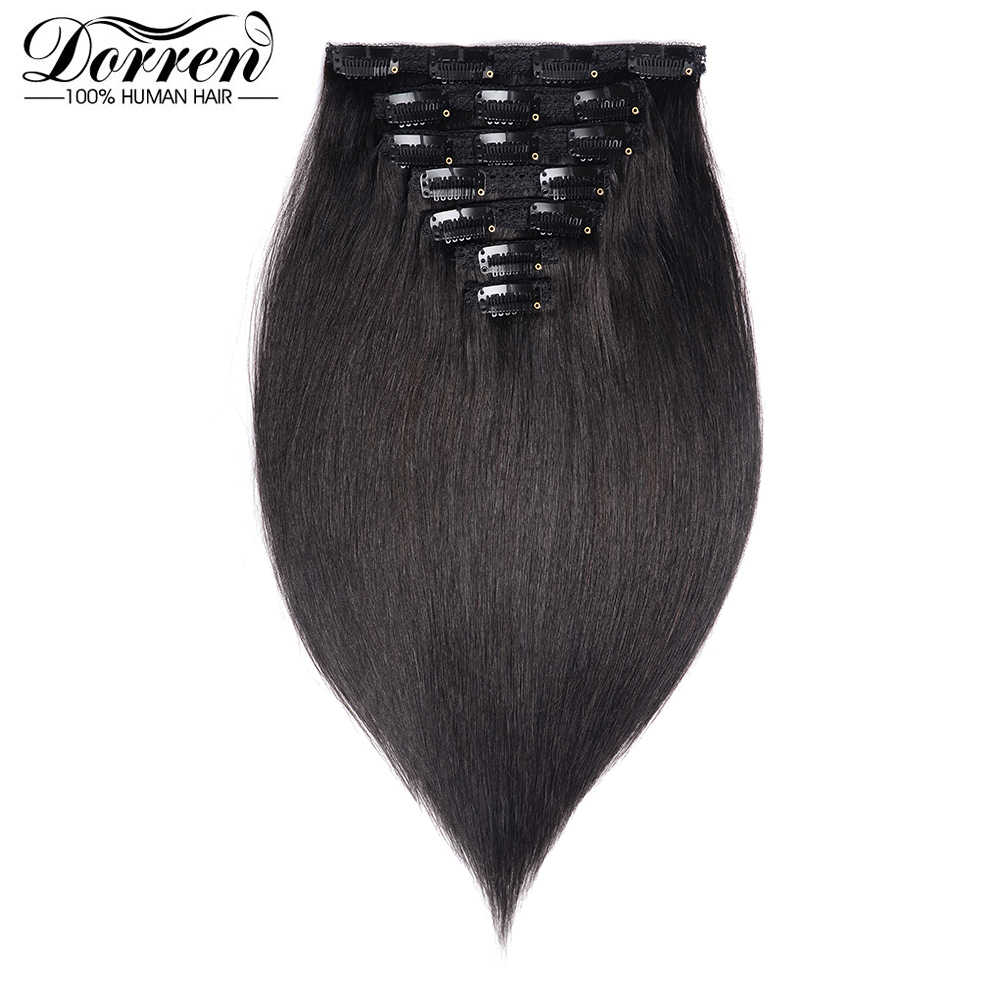 Doreen 200G European Hair Machine Made Remy Straight Clip In Hair Extensions Human Hairpieces Dark Color Full Head Set 14