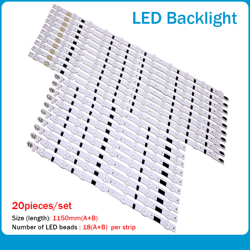 (New Kit)20 PCS/set LED Backlight Strip D2GE-550SCB-R3 D2GE-550SCA-R3 For Samsung UA55F6400AJ 2013SVS55F R 7 L 11 25312A 25313A