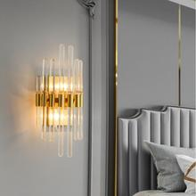 Copper modern wall lamp bedside bedroom American crystal wall lamp led creative living room wall lamp country wall lamp simple modern black living room wall lamp bedroom bedside lamp aisle staircase lamp