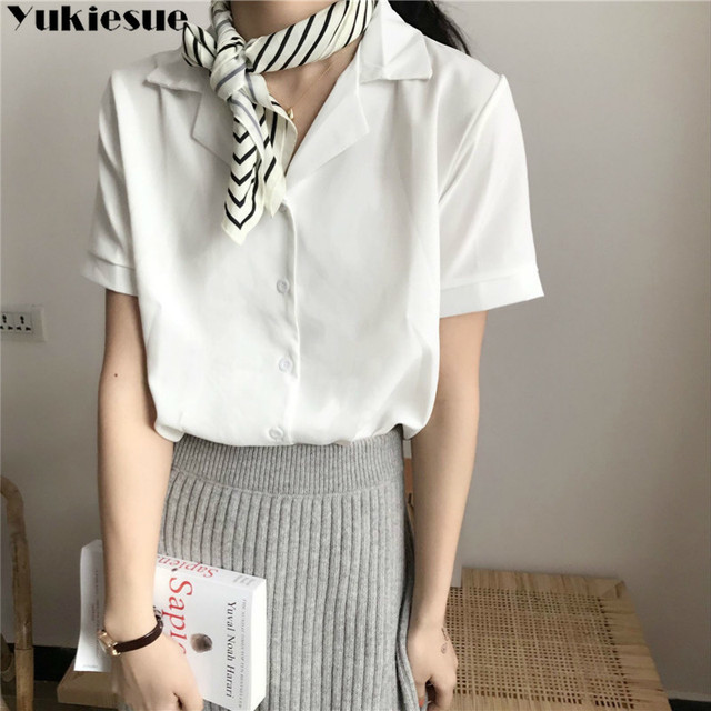 Casual Solid Female Shirts Outwear Tops 2020 summer short sleeve  Women Chiffon Blouse Office Lady V-neck Button Loose Clothing 5