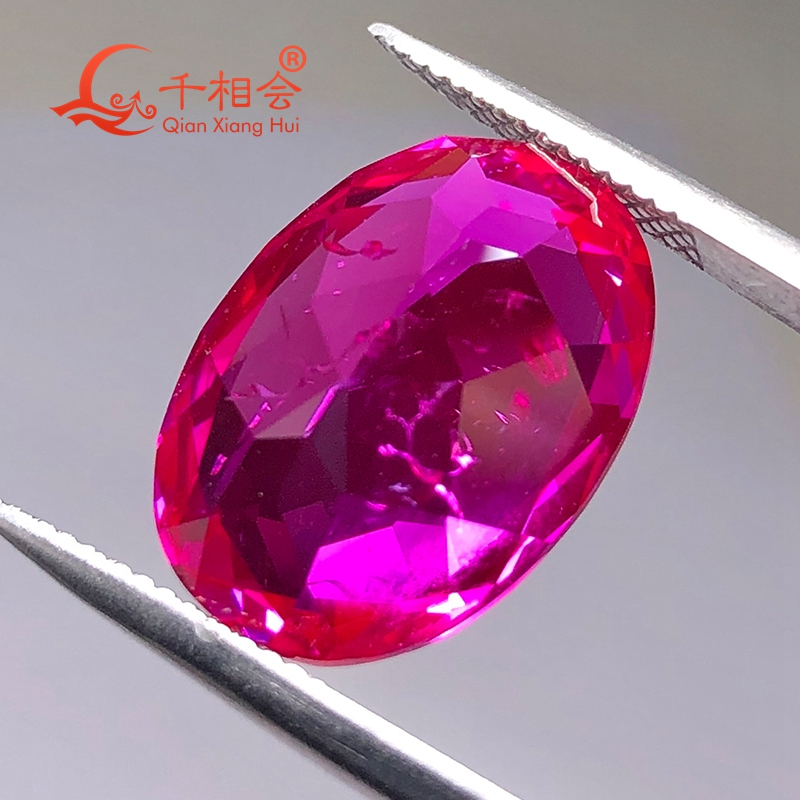 oval shape natural cut artificial ruby 3# including minor cracks and inclusions synthetic  corundum loose gem stone