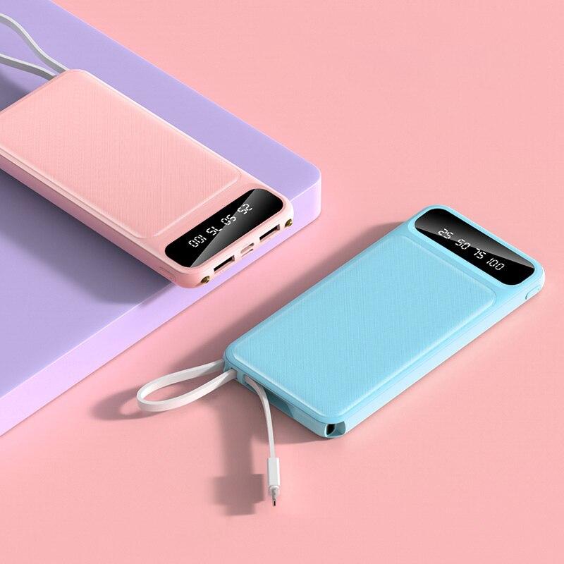Внешний аккумулятор 10000 мАч, портативная зарядка, внешний аккумулятор 10000 мАч, USB внешний аккумулятор, зарядное устройство для iPhone Xiaomi Mi 9 8