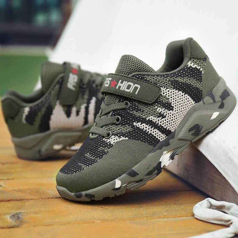 FLARUT çocuk spor ayakkabı askeri eğitim kamuflaj erkek spor ayakkabı ordu yeşil açık çocuk koşu ayakkabıları kızlar için eğitmenler