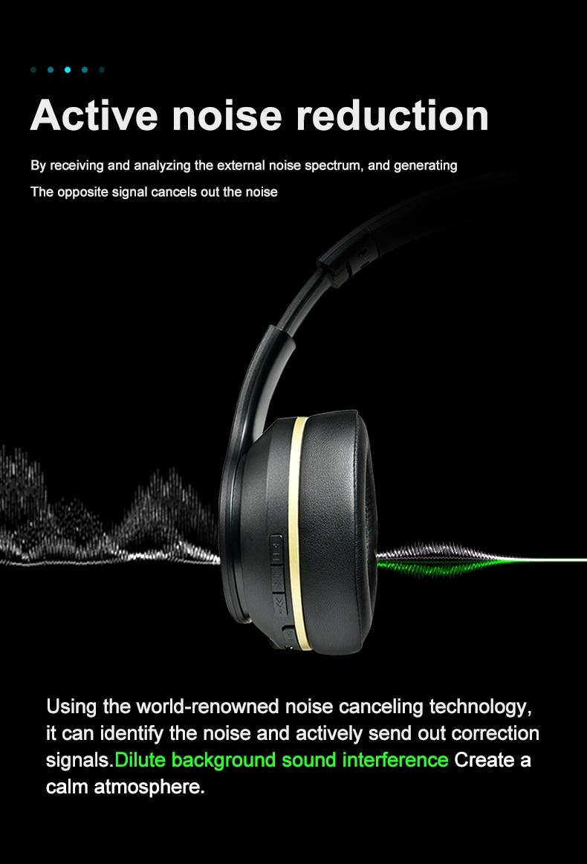 5.0 active noise cancelling dobrável fone graves