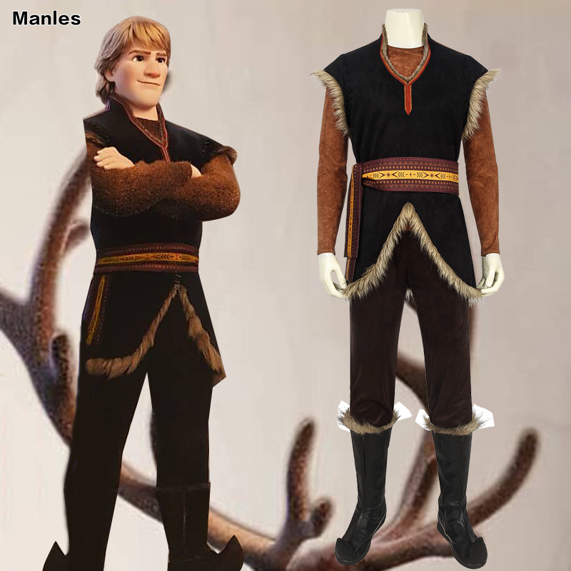 Froze 2 Costume Kristoff Bjorgman Cosplay Snow Queen Adult Halloween Anna Elsa Carnival Party Fancy Custom Snow Vest Cartoon