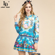 Short Skirt Suit LINDA DELLA 2pieces-Set Sweater Autumn Fashion Women Casual Winter And