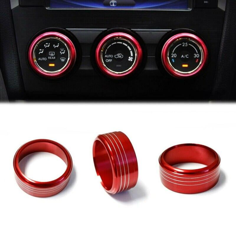 3pcs AC Ring Knob Set Aluminum Control For Subaru Impreza WRX/STi Decal Interior Lift Kits & Parts     - title=