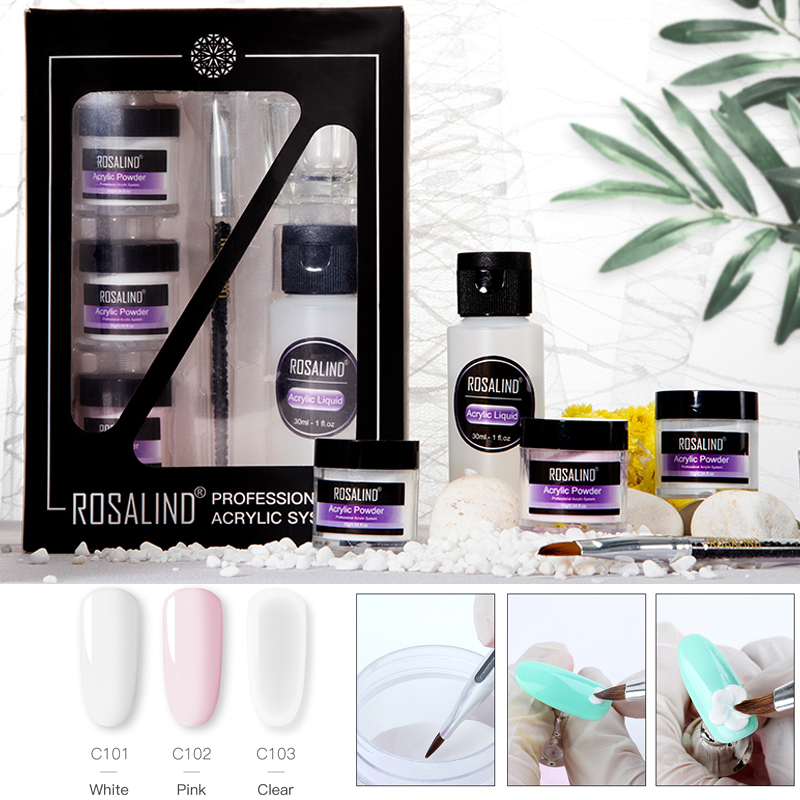 ROSALIND Nail Extension Set Acrylic Powder For Poly Gel Acrylic Nail Kit  Semi Permanent Gel Polish Builder Nail Art Base Top