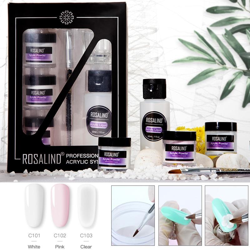 ROSALIND Nail Extension Set Acrylic Powder For Poly Gel Acrylic Nail Kit  Semi Permanent Gel Polish Builder Nail Art Base Top