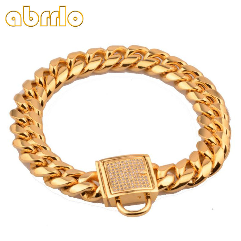 Pet Collar Stainless Steel Metal Dog Collar Gold Plated Curb Cuban Chain Dog Strong Training Dog