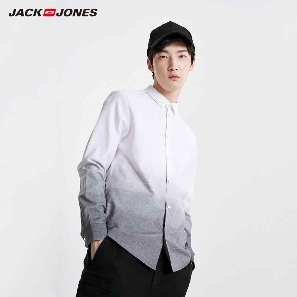 Мужская приталенная рубашка JackJones из 100% хлопка с отложным воротником, градиентный стиль, рубашка с длинными рукавами, 219105513