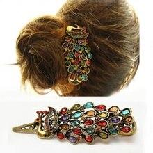 1 шт. роскошные женские винтажные цветные заколки для волос Стразы драгоценный камень античный бронзовый Павлин заколка для волос