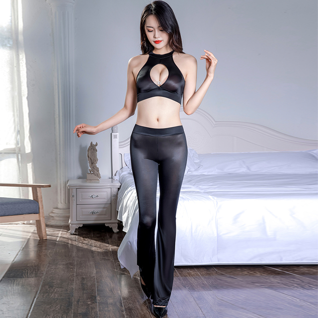 Thin Transparent Soft Silky Elastic Pants Porn Hollow Chest Tops Set Erotic Club Allure Costume Sexy See Through Glossy Leggings 5