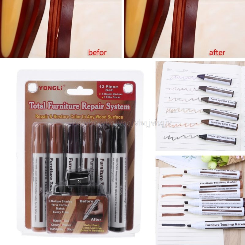 Wood Repair System Kit Filler Sticks Touch Up Marker Floor Furniture Scratch Fix N22 19 Dropship
