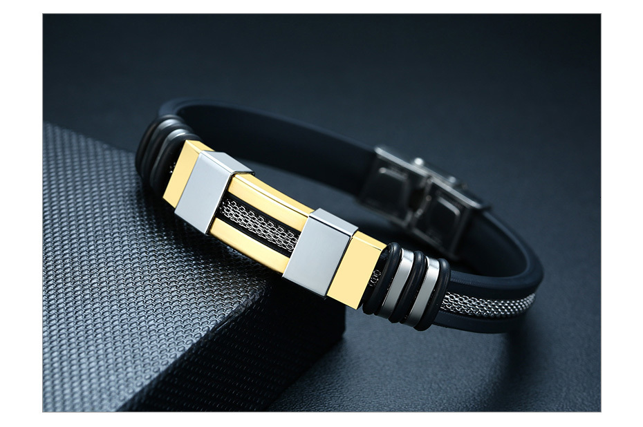 He3a5ebacb5f745d299bd24b2bf34f783n - Stainless Steel Bracelet Men Wrist Band Black Grooved Rudder Silicone Mesh Link Insert Punk Wristband Stylish Casual Bangle