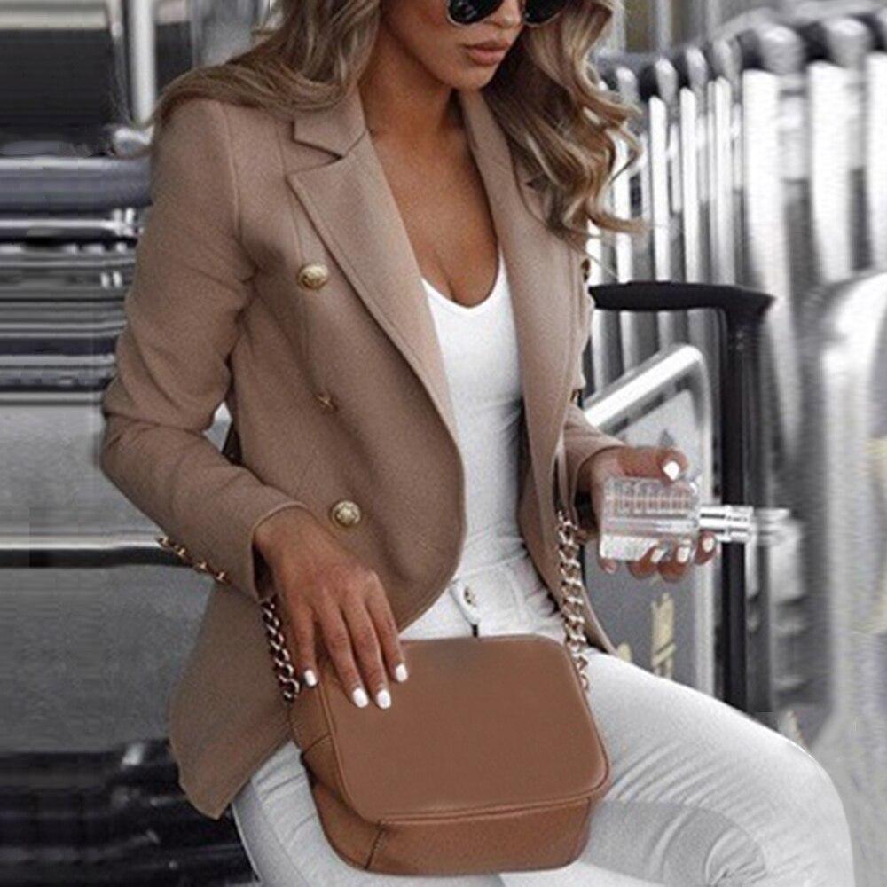 Плюс размер женщин блейзер элегантный офис Леди деловой костюм Осень Зима работы Blazer топы мода Куртки пальто сплошной одежда s-размер 4XL