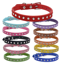 Dog Collar Crystal hot bling Rhinestone pu leather Puppy Cat Collars Necklace Neck Strap personality Small pet products collar