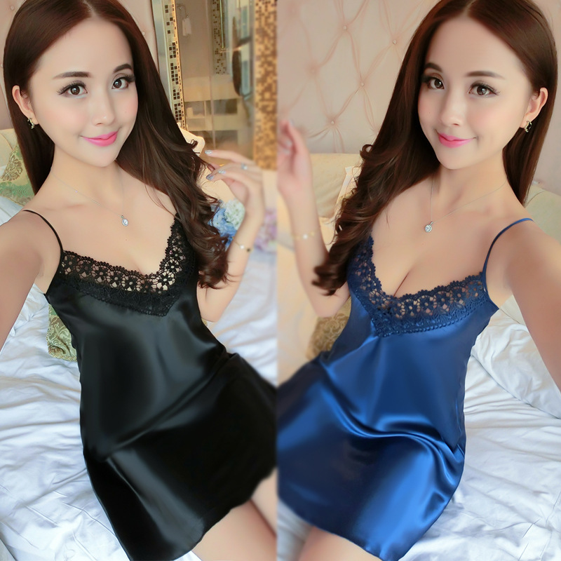 Summer Solid Color Sexy Temptation Strapped Dress Real Silk Of Thin Nightgown Women's Silk Tracksuit Viscose Pajamas