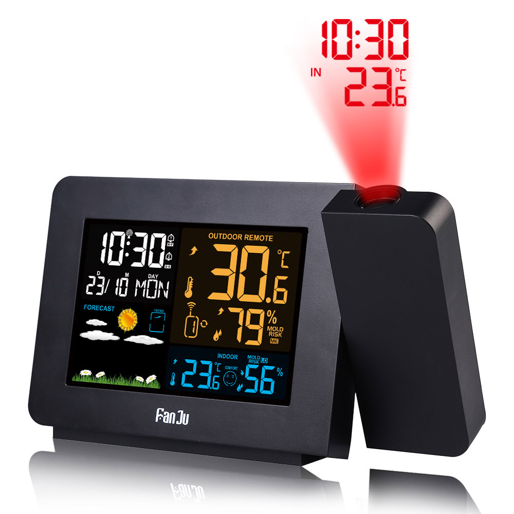 Digital LCD Thermometer Hygrometer Weather Station Forecast Alarm Clock Snooze