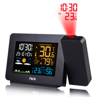 Alarm Projection Clock Thermometer Hygrometer Wireless Weather Station Digital Watch Snooze Desk Table Project Radio Clock
