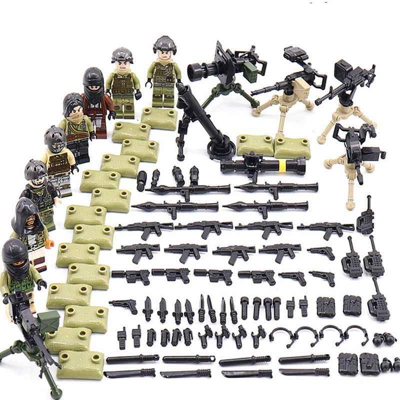 8 шт., Военная серия, оружие, оружие, тяжелый огонь, армейский солдат, строительные блоки, игрушки для детей, мальчиков, совместимые фигурки Legoes WW2