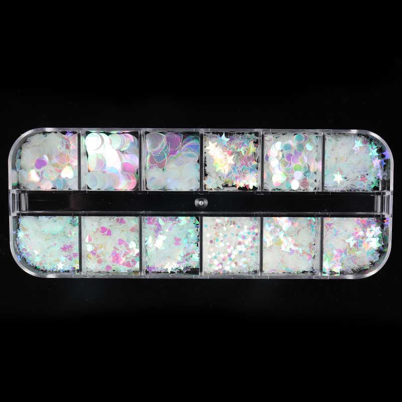 Hologram Susuk Glitter AB Campuran Warna Bintang Bulat Jantung Serpihan Putri Duyung Cermin Tidak Teratur Paillette Diy Payet Dekorasi Nail Art