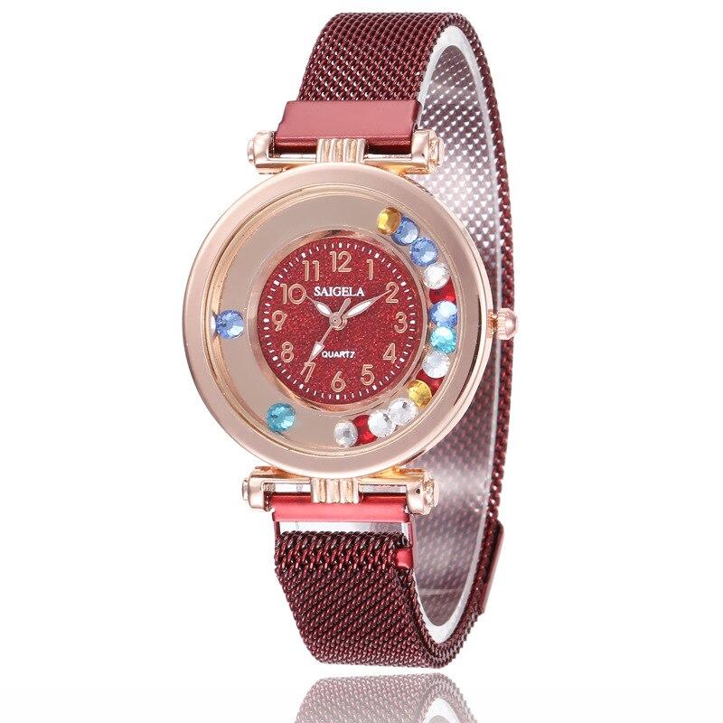 Fashion Magnet Watch For Women Luxury Ladies Wrist Watches Quartz Clock Female Watches Round Crystal Watch Party Accessories