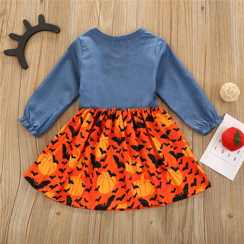 Infant Baby Girl Princess Dress Leopard Print Long Sleeve Denim T Shirt Tops Stitching A-Line Pleated Skirt Outfit