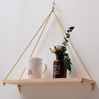 2pcs Wooden Flower Pot Storage Rack Nordic Style Wall Rope Hanging Shelf For Bedroom Living Room Kitchen Office Decor