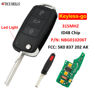 3+1/4B Remote Car Key Keyless-go 315MHz ID48 Chip P/N: NBG010206T 5K0 837 202 AK for Volkswagen 2011-2017 (Models with Prox)